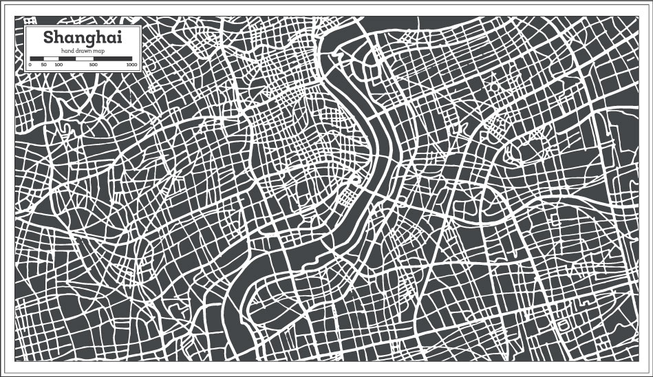 City Hand Drawing Shanghai Map AI Vector