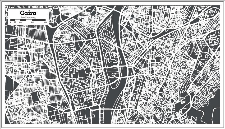 Рука рисунок рисунок Каир карта AI вектор