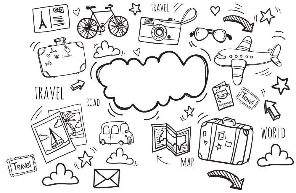 Main, dessin, voyage, ligne, icônes, AI, vecteur