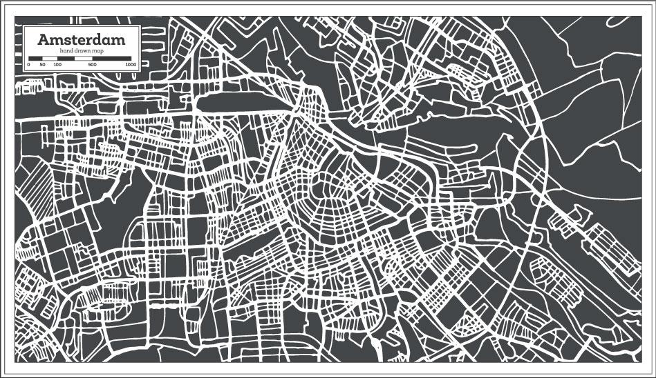 Dibujado a mano Amsterdam Mapa AI Vector