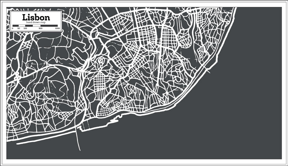 Hand Drawn Lisbon Map AI