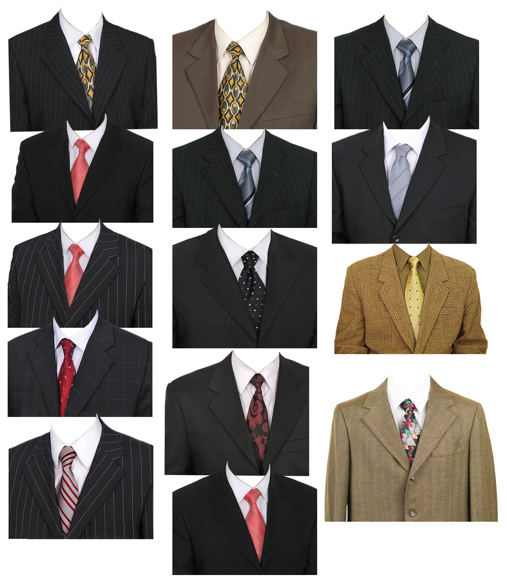 Male suits identification photo templates mockups graphic