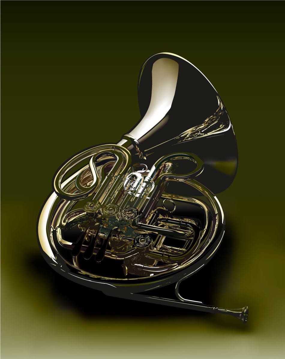 Instrument de musique corne graphique vecteur AI