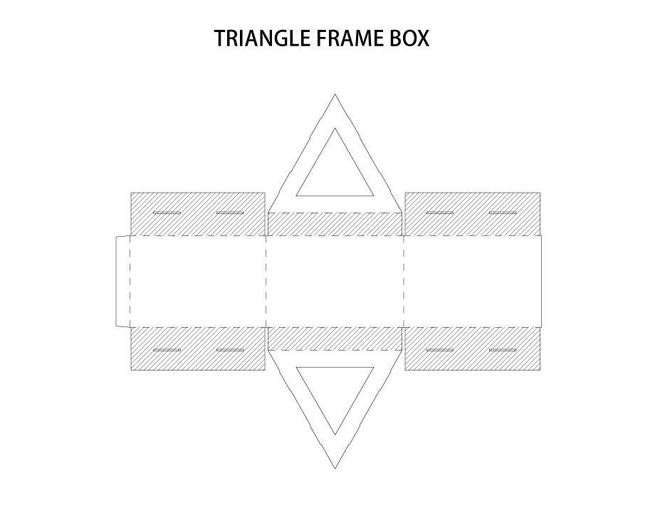 Packaging Dielines Triangle Frame Box AI Vector