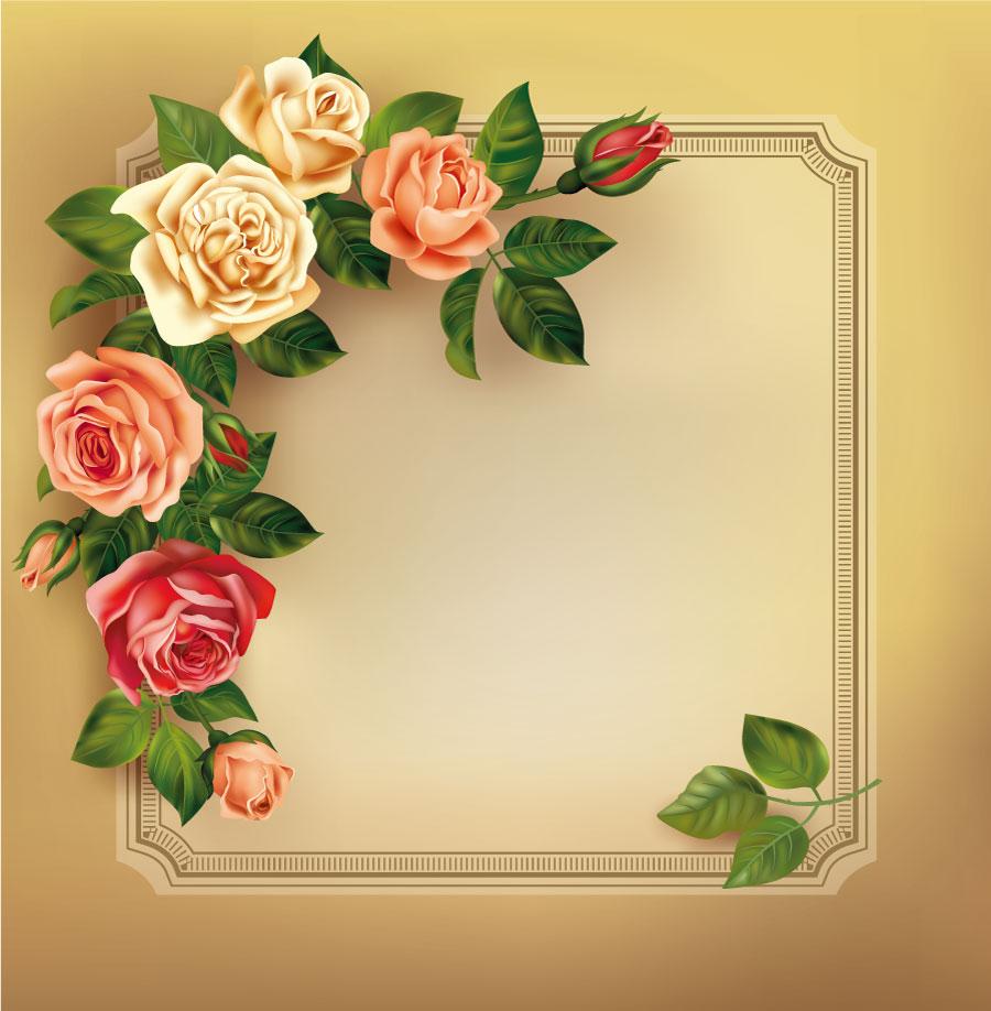 Roses Vintage Frame Design AI