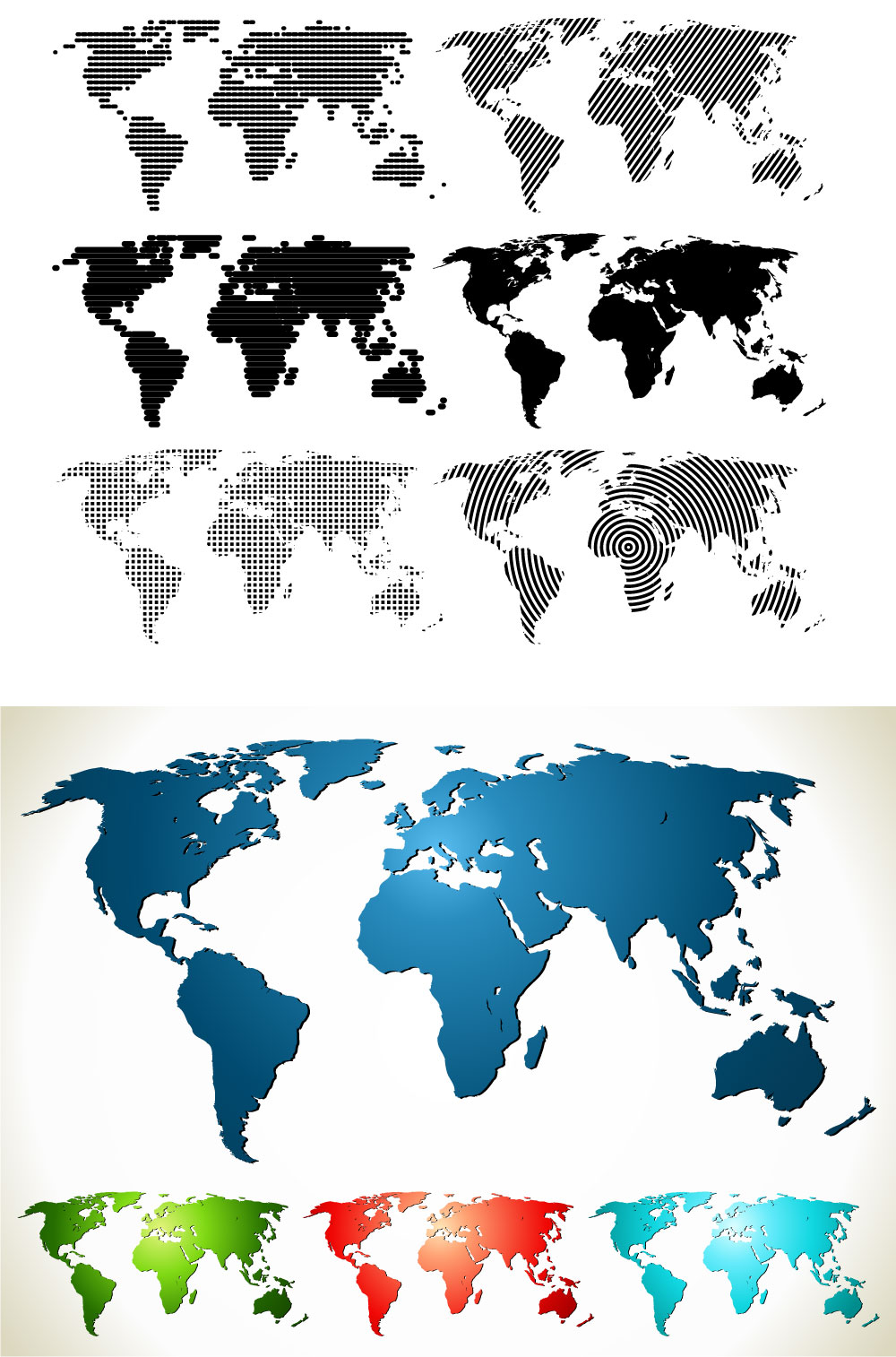 World Maps Collection Ai Vector