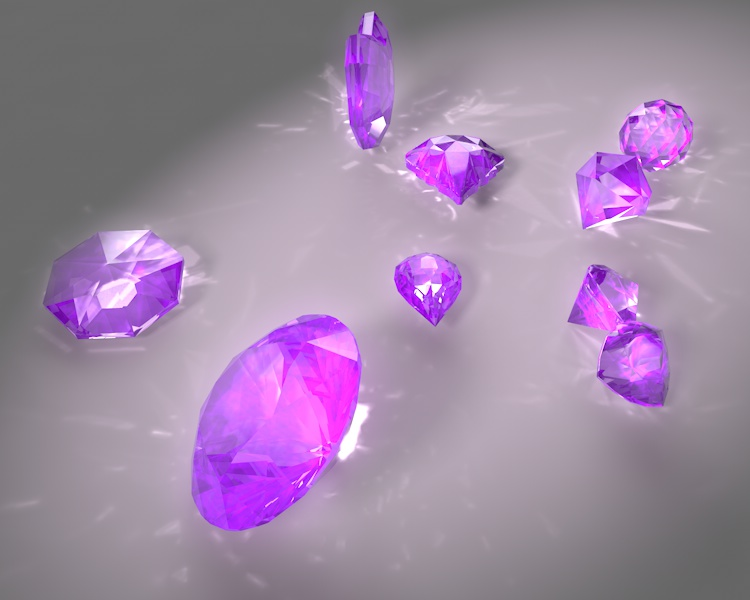 round brilliant pear trillion ball heart small amethyst jewelry gems 3d Model set caustics dispersion