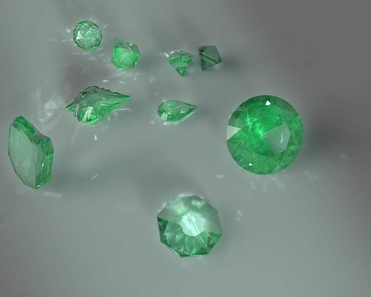round brilliant pear trillion ball heart small emerald jewelry gems 3d Model set caustics dispersion