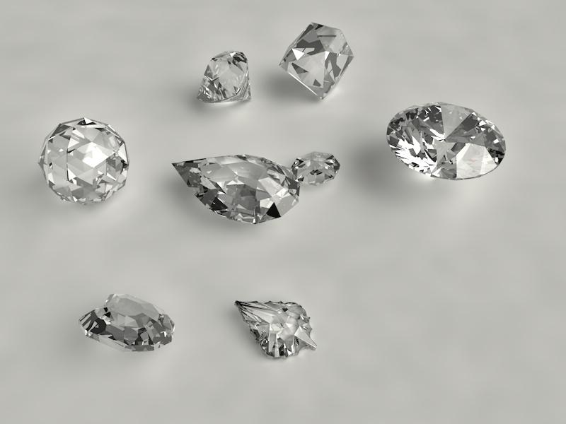 round brilliant pear trillion ball heart small diamonds 3d Model set