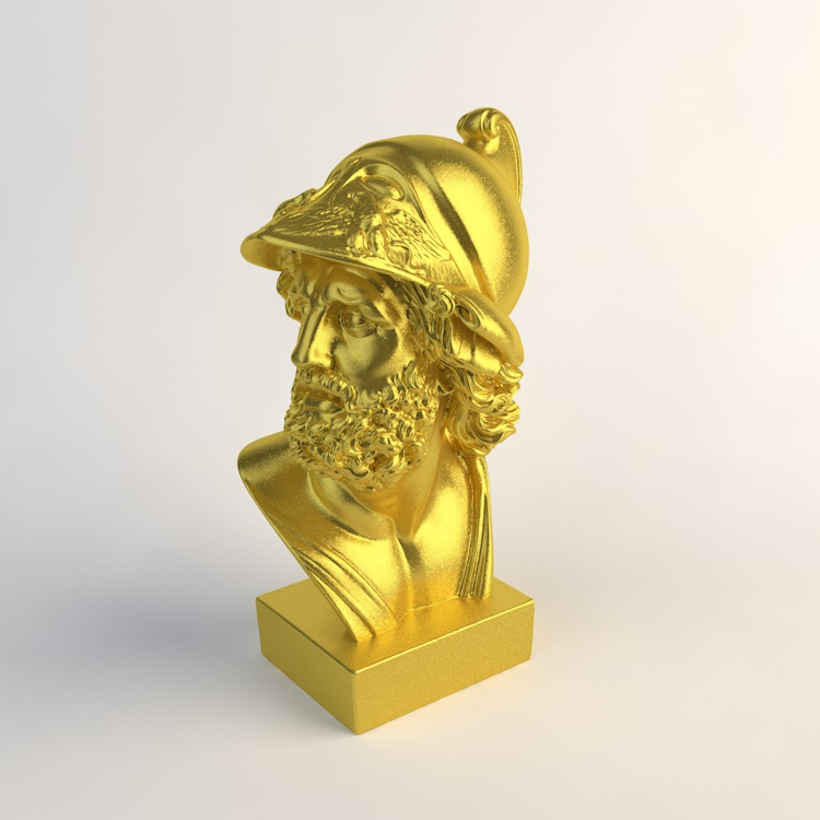 Gold Homer Bust Sculpture Statue 3D Model