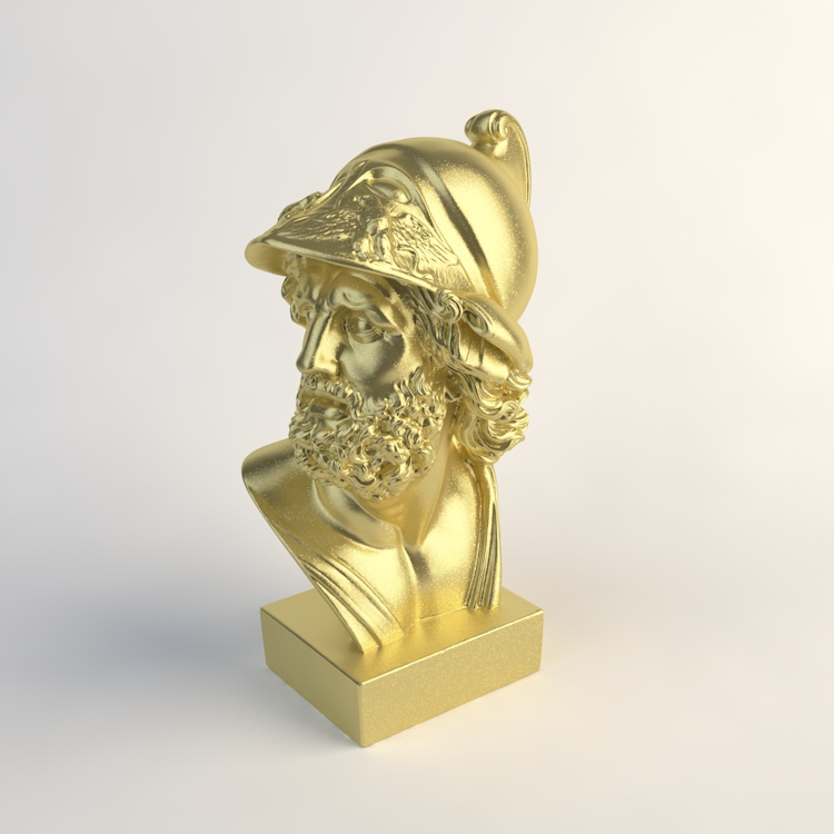 Gold Homer Bust Sculpture 3D Model