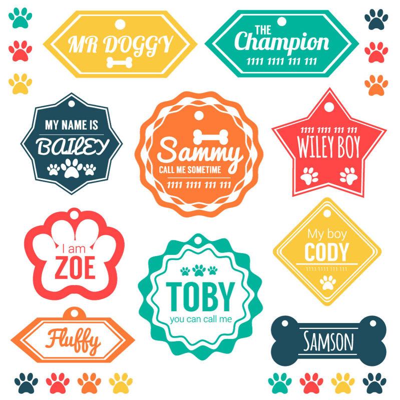 Étiquettes colorées de vecteur de chiens de compagnie AI