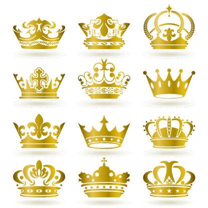 12个金色皇冠图标AI矢量图像