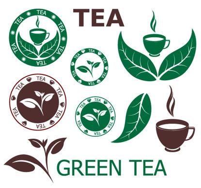 Зеленый чай Иконки AI Вектор
