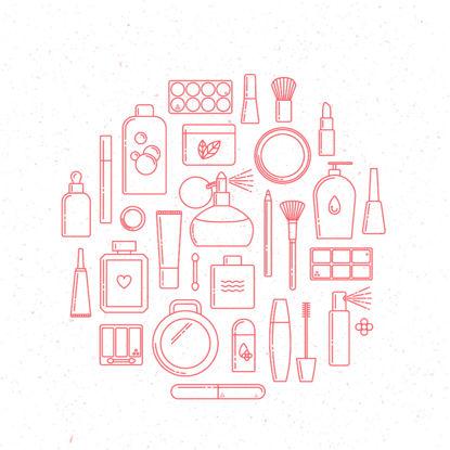 Immagine di Vettore cosmetico di AI delle icone della raccolta dell'elemento