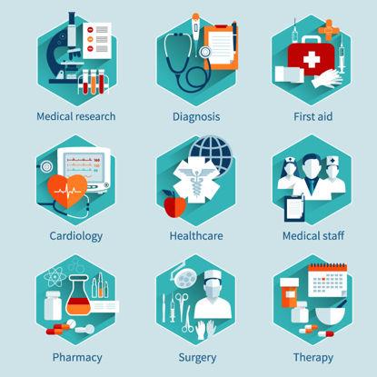 Tıbbi tedavi ve halk sağlığı simgeler AI vektör