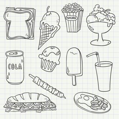El Çizim İçecek Dondurma Ekmek Simgeler AI Vektör