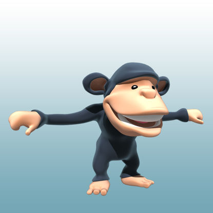 Cartoon Chimpanzee 3D Model Animals-0040 resmi