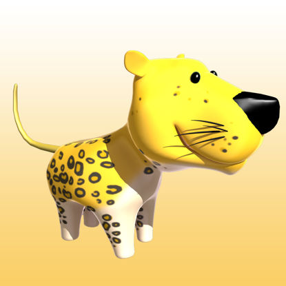 Cartoon Panther 3D Model Animals - 0038 resmi