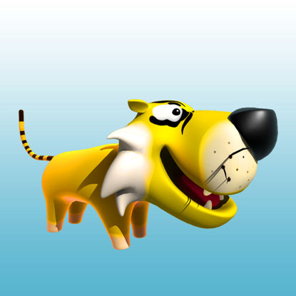 Cartoon Tiger 3D Model Animals - 0037 resmi