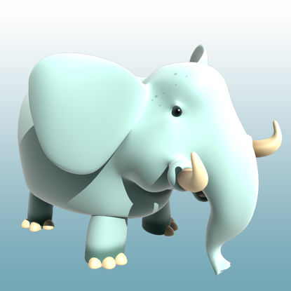 Cartoon Elephant 3D Model Animals - 0036 resmi