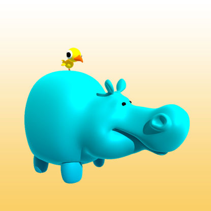 Cartoon Hippo 3D Model Animals - 0033 resmi