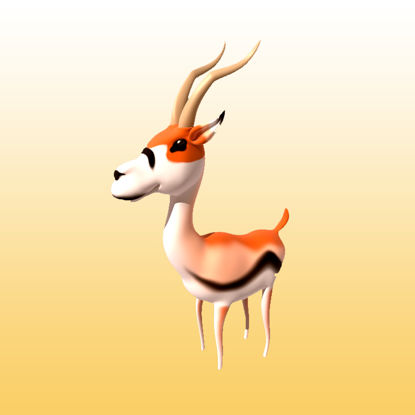 Cartoon Gazelle 3D Model Animals - 0030 resmi