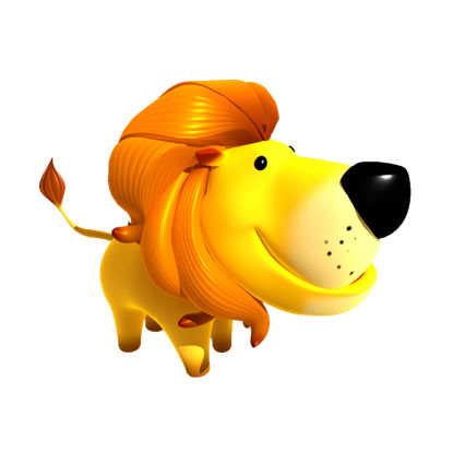 (Animal-0027)-3D-Cartoon lion resmi