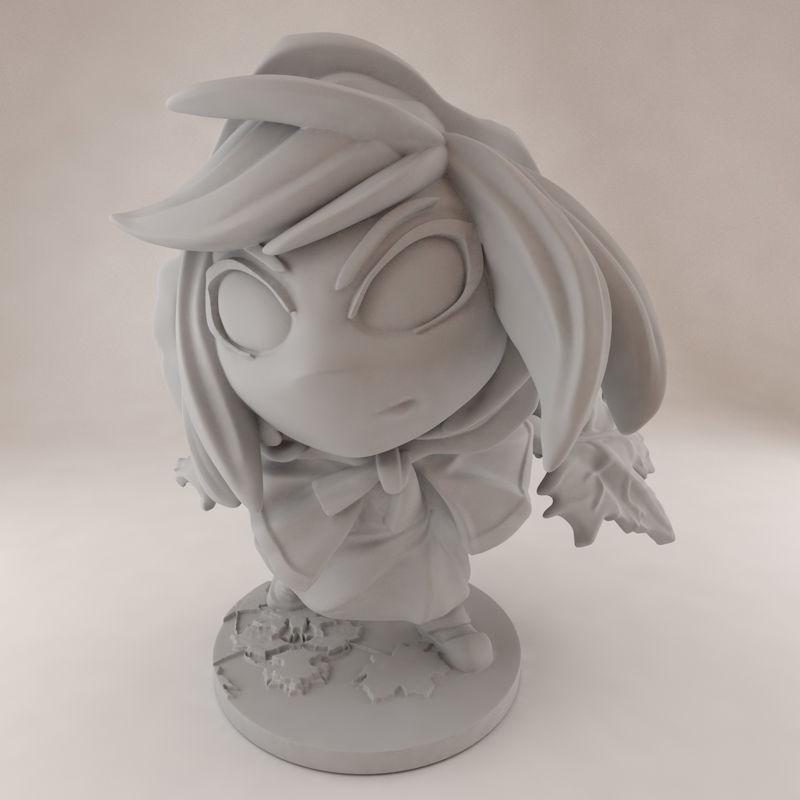 Modèle d'impression 3D de la figure de la prêtresse feuille Momodora Kaho