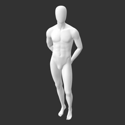 چنگال دست عضلانی ورزشی مانکن نر در مدل چاپ سه بعدی پشت