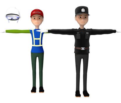Cartoon Worker 3D Model resmi