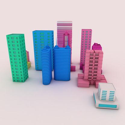 Çizgi film binalar 3d modeli resmi