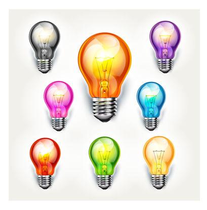 图片 五颜六色的电灯泡照片拟真的图表AI传染媒介