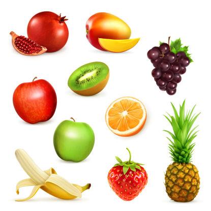 Снимка на Фотореалистични плодове Графична колекция AI вектор