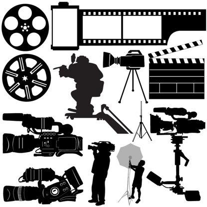 フィルム撮影シルエットコレクションAIベクトル の画像