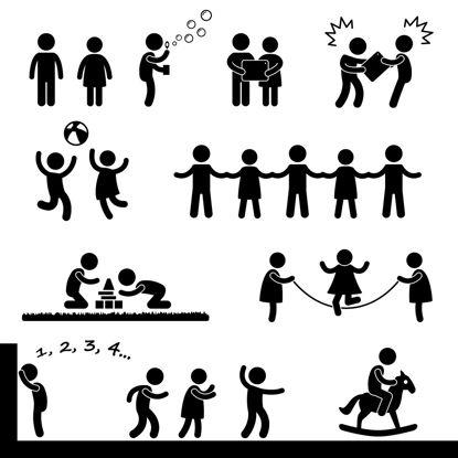 Image de Enfants jouant des silhouettes AI Vector