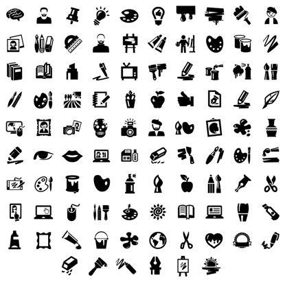 تصویر Art Icons Design Elements AI Vector
