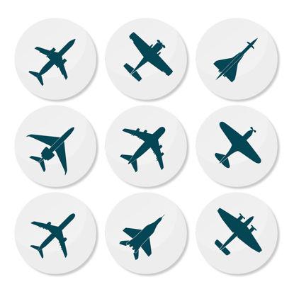 تصویر 9 Planes Round Icons AI Vector