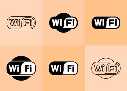 Immagine di 6 icone Wifi AI vettoriale