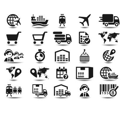 Immagine di 25 icone logistiche vettore AI