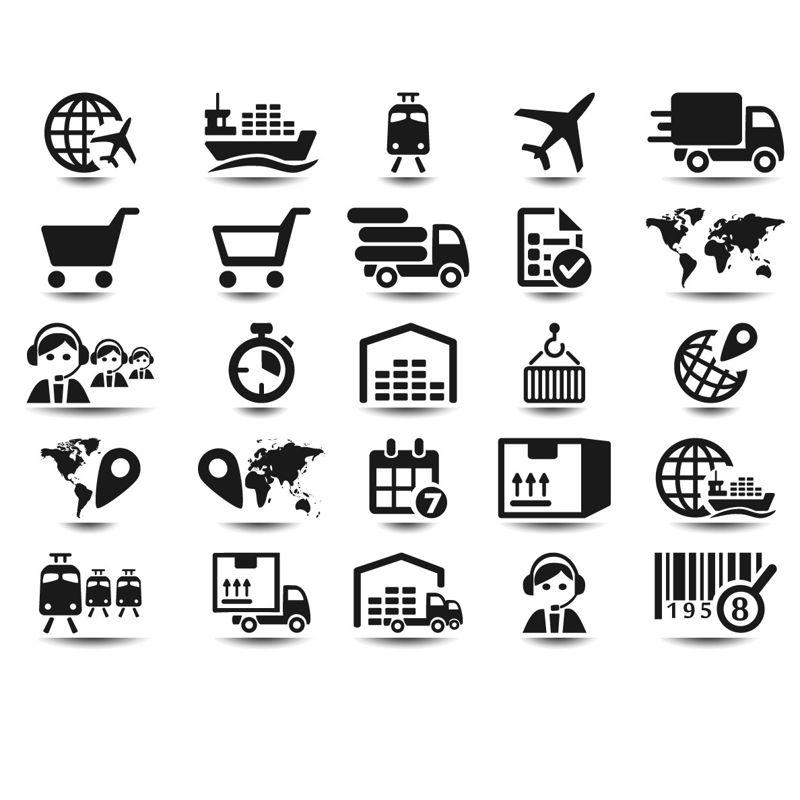 25 iconos logísticos vector de AI