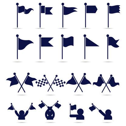 Immagine di 18 bandiere icone AI vettore