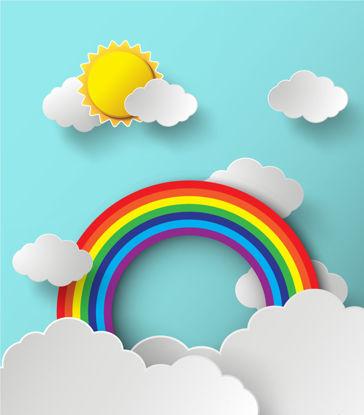 太阳彩虹云AI矢量