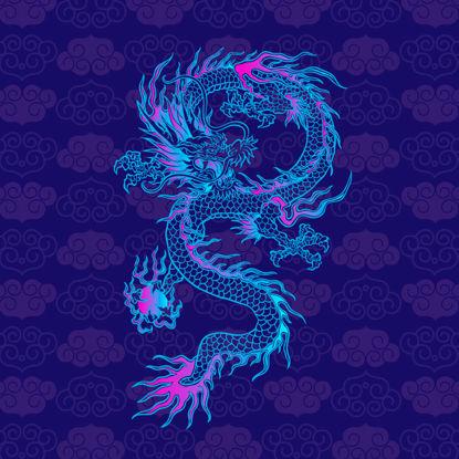 Imagem de Criaturas míticas chinesas dragão gráfico AI Vector