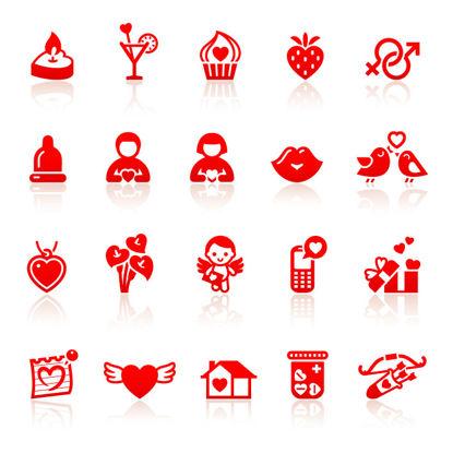 نمادهای گرافیکی تخت روز ولنتاین بردار AI