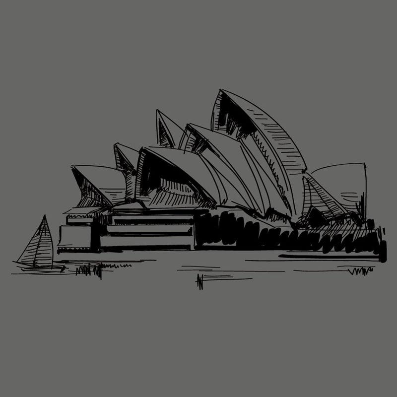 Vecteur AI de l'opéra de Sydney dessiné à la main