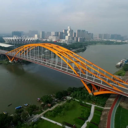 Luftbild Foshan Brücke Foshan Stadium 2