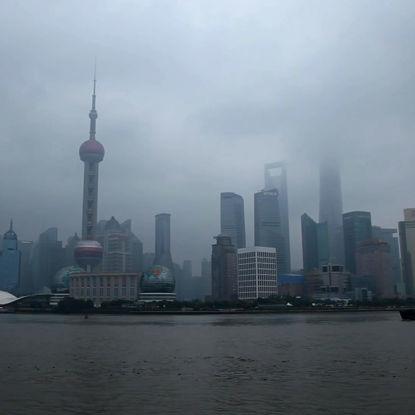 Huangpu-Flusskreuzschiff-Zeitrafferphotographie