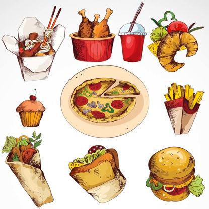 Mano dibuja el material de vectores de alimentos