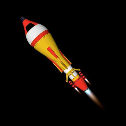 Cartoon Rocket 3d model